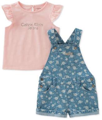 Calvin Klein Two-Piece Printed Cotton Top and Denim Shortall Set