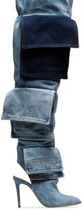 Natasha Zinko blue thigh-high denim boots