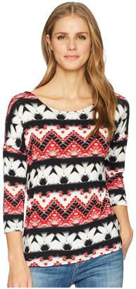 Tribal Printed Jersey Crew Neck Top with Fooler Back Women's Clothing
