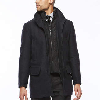 COLLECTION Collection by Michael Strahan Charcoal Wool Overcoat