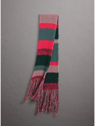Burberry Striped Rib Knit Wool Cashmere Scarf