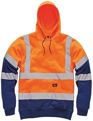 Dickies Mens High Visibility Viz Two Tone Hoodie Hooded Sweatshirt Safety Work