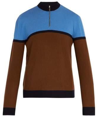 Prada Half Zip Stripe Panel Wool Sweater - Mens - Blue Multi
