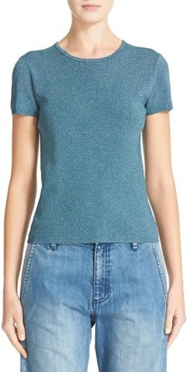 Women's Tibi Metallic Knit Crewneck Tee $495 thestylecure.com