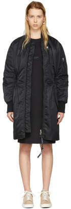 Acne Studios Reversible Black and Navy Ahline Long Bomber Jacket