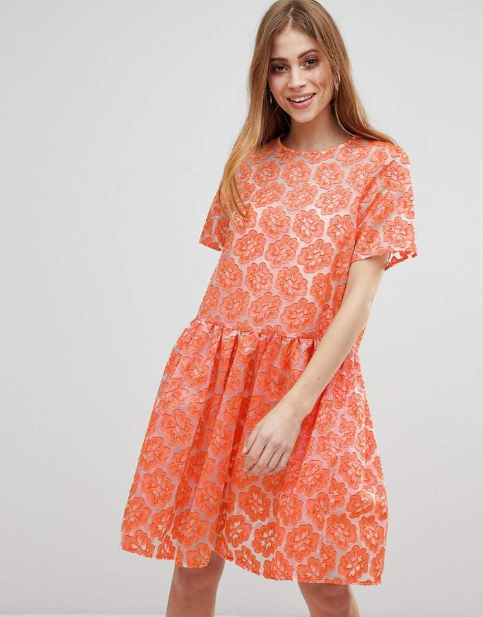 Asos ASOS SALON Embroidered Floral Organza Skater Dress