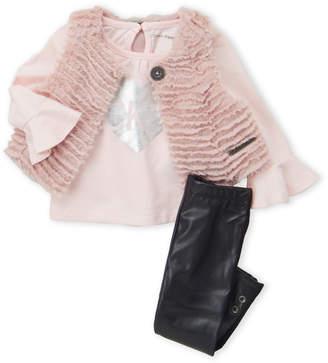 Calvin Klein Jeans Infant Girls) 3-Piece Faux Fur Vest & Pants Set