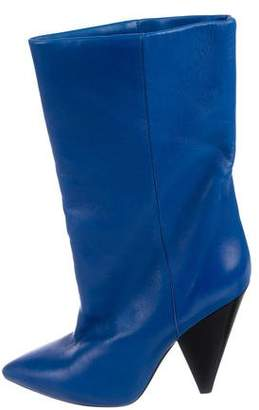 Isabel Marant Leather Mid-Calf Pointed-Toe Boots
