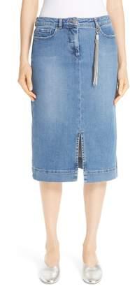 Fabiana Filippi Denim Pencil Skirt with Tassel