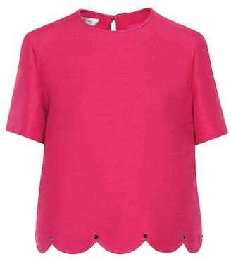 Valentino Scalloped wool and silk top
