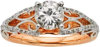 Diamonds & Lace Round-Cut IGL Certified Diamond Filigree Engagement Ring in 14k Rose Gold & 14k White Gold (1 1/4 ct. T.W.)