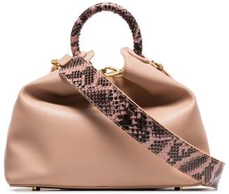 Elleme nude raisin snake effect detail leather shoulder bag