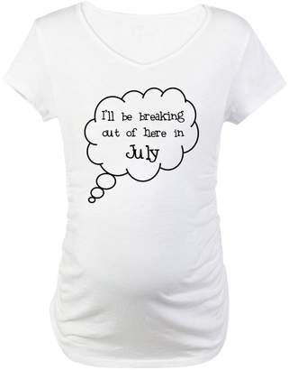 "CafePress - Breaking Out July"" - Cotton Maternity T-shirt, Cute & Funny Pregnancy Tee"