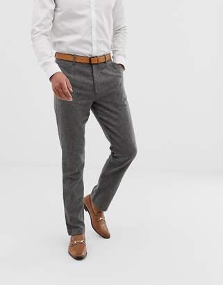 Asos Design WEDDING Slim Smart Pants With Pocket Detail In Tweed