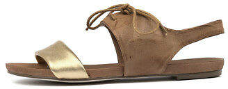 Django & Juliette New James Gold Tan Womens Shoes Casual Sandals Sandals Flat