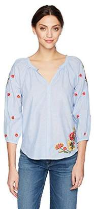 Velvet by Graham & Spencer Women's Arabelle Floral Embroidered Shirt