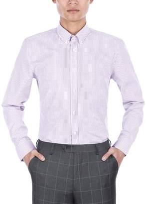 Verno Mens Slim Fit Long Sleeve Purple and White Plaid Dress Shirt