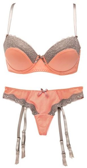 Charlotte Russe Lace Trim Bra & Garter Thong Set