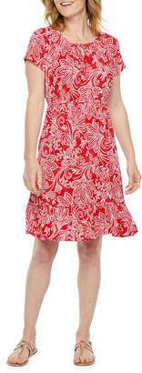 ST. JOHN'S BAY Short Sleeve Paisley A-Line Dress