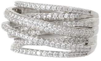 Sterling Forever Sterling Silver Curved Multi-Row CZ Ring
