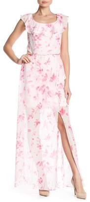 Nine West Floral Ruffle Neckline Maxi Dress