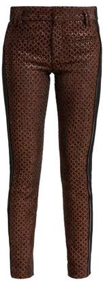 Haider Ackermann Contrast Panel Velvet And Leather Trousers - Womens - Brown Multi