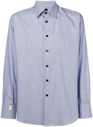 Billionaire geometric patterned curved hem shirt
