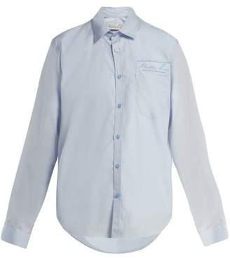 Martine Rose Logo Embroidered Cotton Shirt - Womens - Blue