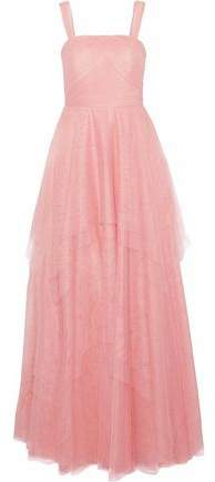 Aghal Layered Pleated Tulle Gown