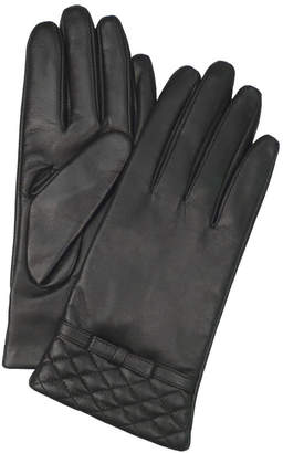 Dents Leather Gloves with Quilted Cuff and Bow Trim