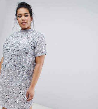 Lost Ink Plus shift dress with all over embellishment