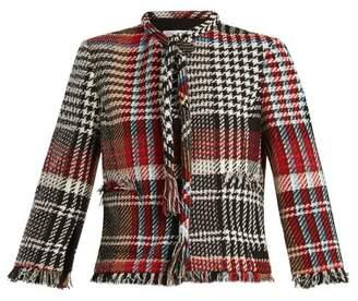 Oscar de la Renta Fringed Cotton Blend Tweed Jacket - Womens - Black Multi