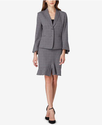 Tahari ASL Petite Plaid Ruffled Skirt Suit