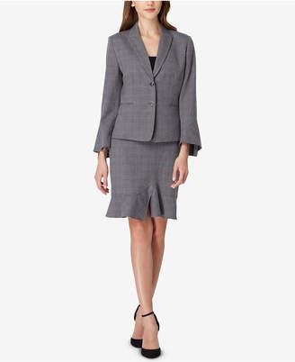 Tahari ASL Plaid Ruffled Skirt Suit