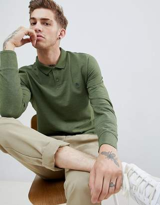 Original Penguin long sleeve pique polo small logo in green marl