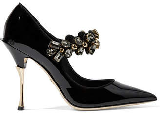 Dolce & Gabbana Crystal-embellished Patent-leather Mary Jane Pumps - Black