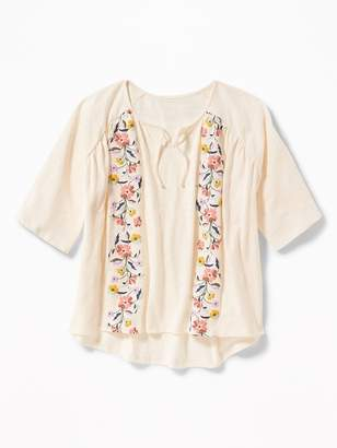 Old Navy Raglan-Sleeve Puff-Print Top for Girls