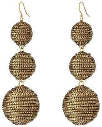 Kenneth Jay Lane 3 Gold Thread Small to Large Wrapped Ball Post Fish Hook Ear Earrings Earring