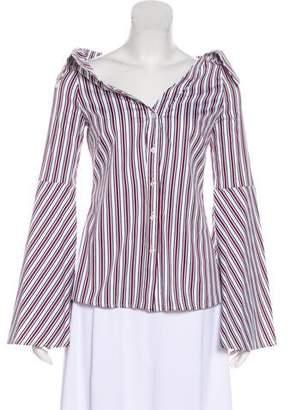 Caroline Constas Long Sleeve Button-Up Blouse