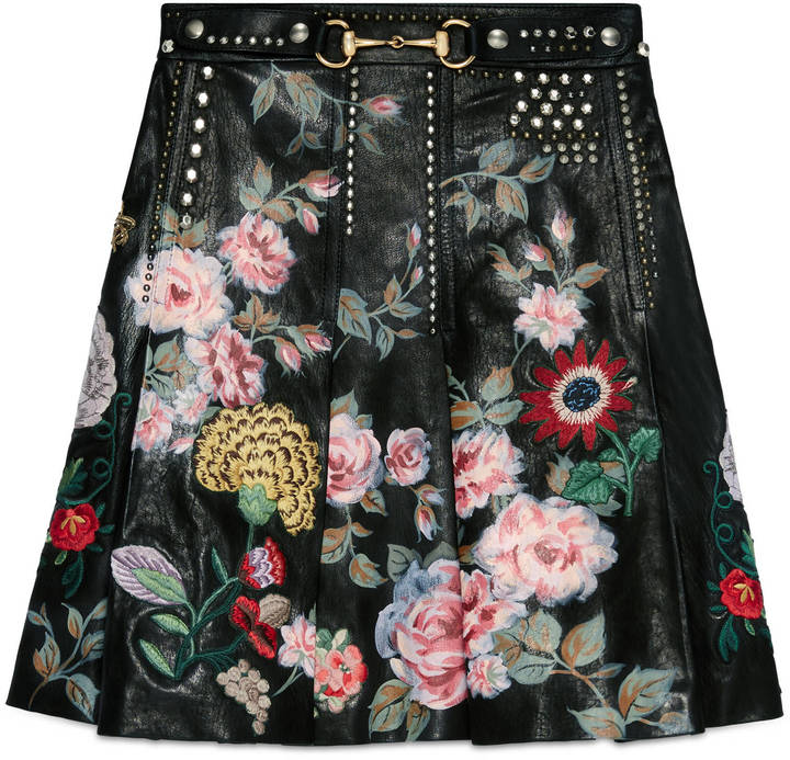 Gucci Hand-painted leather skirt