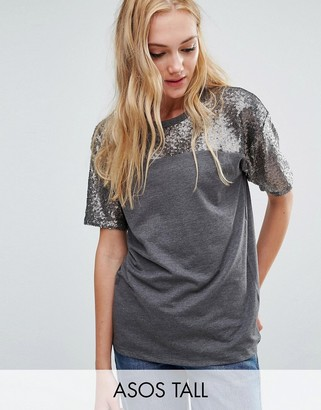 ASOS Tall ASOS TALL T-Shirt with Sequin Yoke in Boxy Fit $34 thestylecure.com
