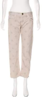 Current/Elliott Vanilla Stars Mid-Rise Straight-Leg Pants