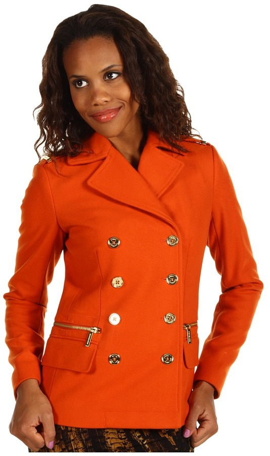 MICHAEL Michael Kors New Wool Melton Double Breasted Fit Peacoat (Orange Spice) - Apparel
