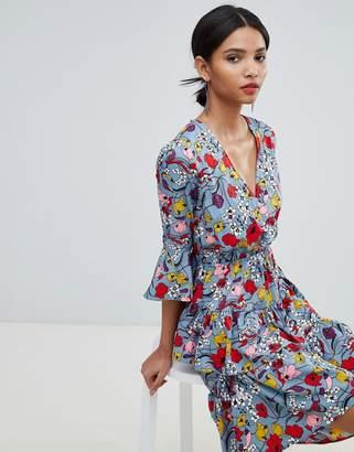 Y.A.S bold floral mini wrap dress