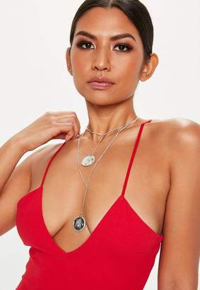 Missguided Silver Look Crystal Coin Multirow Necklace