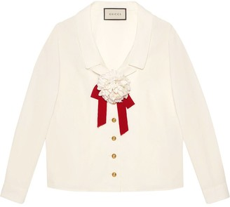 Gucci floral brooch detail blouse