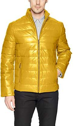 Campaign Men's Leather Packable Down Filled Puffer Jacket
