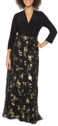 Chetta B BE BY Be by 3/4 Sleeve Foil Floral Maxi Dress