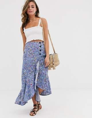 8758289a04 Asos Design DESIGN ruffle wrap maxi skirt in vintage ditsy floral print