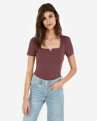 Express Solid Notch Square Neck Puff Sleeve Tee